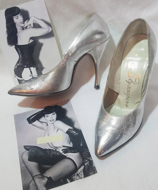 Vintage RARE 1950's Mandel's Skyscrapers Fetish High Heels, Metallic Silver