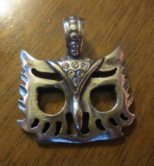 Gothic Silver Pewter Owl Face Pendant w/Rhinestones