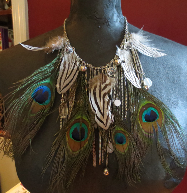 Dramatic Peacock Feathers Beads Choker Necklace