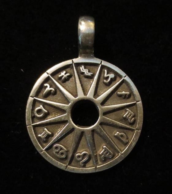 Planetary Symbols Pendant Zodiac Astrology Wheel Amulet