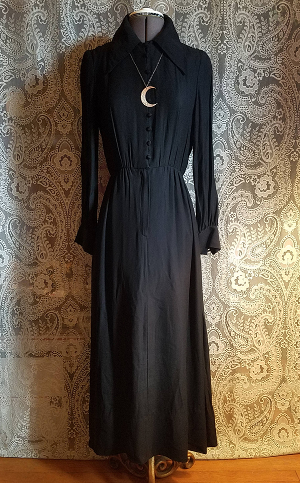 Vintage 1980's Black Witchy Maxi Dress, XS Small, Goddess Priestess Coven