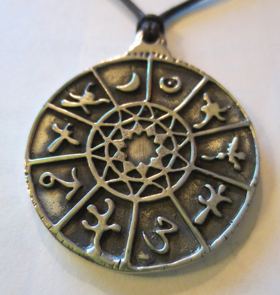 Planetary Signs Zodiac Pendant Astrology Wheel Amulet