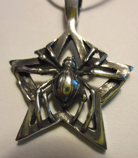 Spider Pentagram Pendant Lead Free Pewter Wiccan Pagan