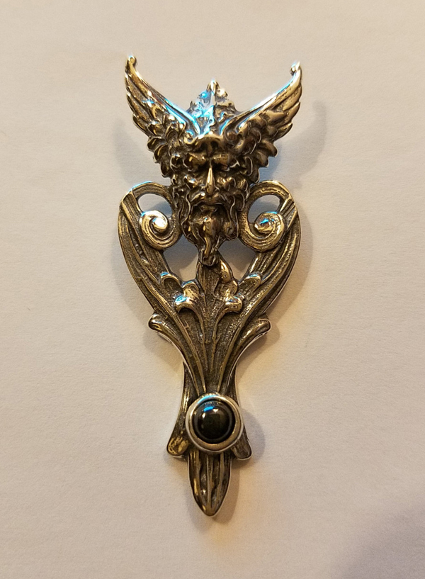 Sterling Silver Northwind Green Man Bacchus Pendant Hematite Stone