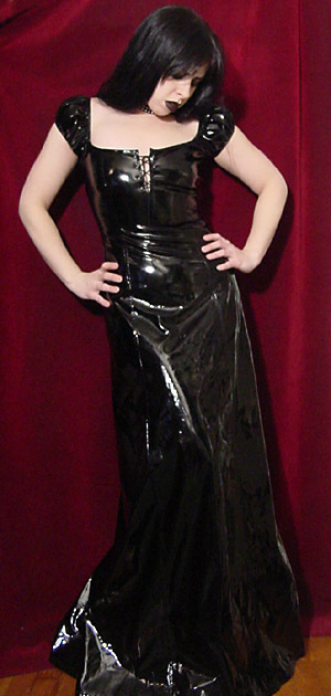 Lip Service Rare Black Vinyl Fetish Peasant Gown XS